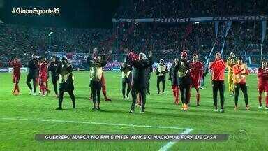 Paolo Guerrero marca no fim e Inter ganha do Nacional, pela Libertadores - Time colorado volta com a vantagem do gol qualificado para a segunda partida das oitavas de final.