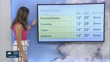 Confira como fica a previsão do tempo para a região de Ribeirão Preto, SP - Manhã da sexta-feira (26) deve começar mais quente e temperaturas prometem aumentar ao longo do dia.