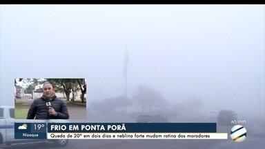 Fronteira com Paraguai tem queda de 20° C na temperatura e nevoeiro - Mínima foi de 12° C na Capital e frio deve continuar até amanhã.