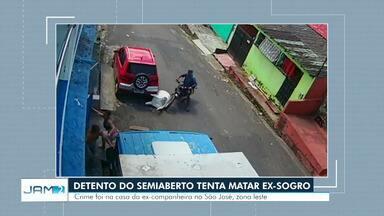 Detento do semiaberto é preso suspeito de tentar matar ex-sogro durante briga em Manaus - Caso aconteceu no final de junho, na casa da sua ex-namorada. Segundo delegado responsável por prisão, suspeito tem 11 passagens policiais.