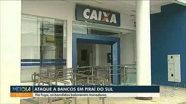 Assaltantes explodem agência bancária em Piraí do Sul - Eles explodiram a agência da Caixa e atiraram contra a agência do Banco do Brasil.