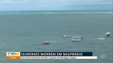 Duas idosas cearenses morrem em naufrágio em Maragogi, Alagoas - Saiba mais em g1.com.br/ce
