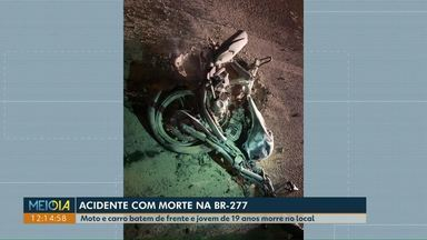Jovem de 19 anos morre em acidente na BR-277 - A moto em que ele pilotava bateu de frente com um carro.