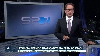 Polícia Rodoviária Federal prende traficante com drogas na Rodovia Fernão Dias - Homem escondia 24 quilos de cocaína e 10 de maconha num compartimento falso dentro do carro. Ele tentou fugir à pé, mas foi preso
