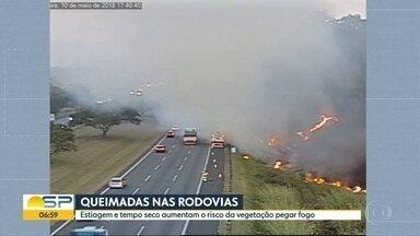 Queimadas nas rodovias - Estiagem e tempo seco aumentam o risco da vegetação pegar fogo.