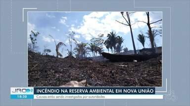Incêndio atinge reserva ambiental em Nova União - Fogo também atingiu propriedades.
