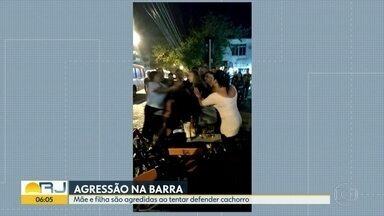 Mãe e filha são agredidas ao tentar defender cachorro na Barra da Tijuca - A confusão foi num bar. A filha chegou a desmaiar de tanto apanhar.