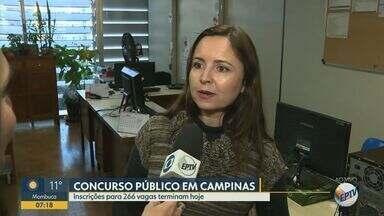 Terminam hoje as inscrições para o concurso público em Campinas - Ao todo, inscrições são para 266 vagas.
