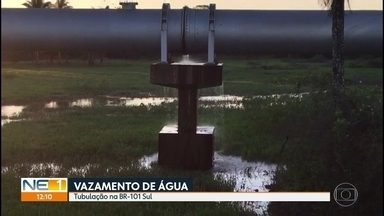 Moradores denunciam vazamento de água em tubulação às margens da BR-101 - Problema acontece há um ano, segundo denúncia.