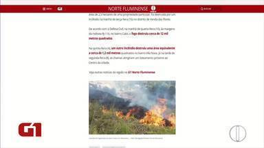 Estado de alerta máximo por causa da estiagem em Miracema é destaque nas páginas do G1 - Segundo a Defesa Civil, risco de incêndio é alto.