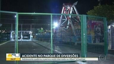 Adolescente fica ferido em brinquedo de parque de diversões em Bangu - Menino de 14 anos quebrou a perna no parque Play Kid, no Bangu Shopping.