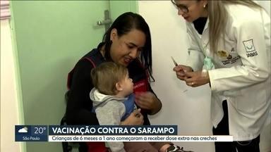 Vacinação contra o sarampo nas creches - Prefeitura de SP começa a vacinar crianças de 6 meses a 1 anos nas creches municipais.