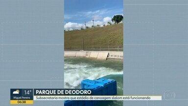Subsecretaria divulga vídeo mostrando funcionamento do Parque de Deodoro - A Subsecretaria de Legado Olímpico divulgou um vídeo mostrando o estádio de canoagem slalom funcionando. A subsecretaria declarou que o sistema fica vazio por economia de água e luz.