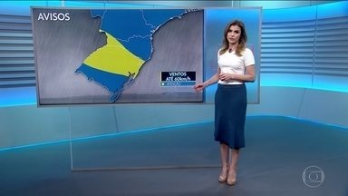 Alerta de rajadas de vento na região sul do país - No interior do Brasil, o tempo ficará seco e muito quente.