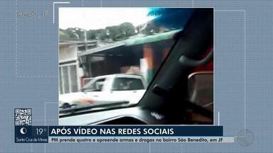 Operação 'Pronta Resposta': PM anuncia prisões e apreensões em bairro de Juiz de Fora - Operação foi realizada após publicação em redes sociais de imagens com suspeitos exibindo armas de fogo andando de carro no local.