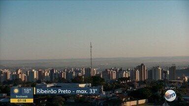 Confira a previsão do tempo para esta segunda-feira (12) em Ribeirão Preto - Temperatura chega a 33°C.