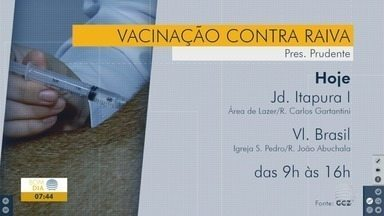 Campanha de vacinação contra a raiva continua - Confira os pontos desta segunda-feira (12).