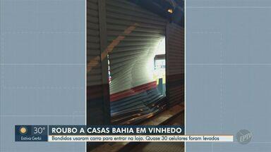 Criminosos utilizam veículo para arrombar loja e furtam celulares em Vinhedo - Caso ocorreu na madrugada desta segunda-feira (12) e, até o momento, ninguém foi preso.