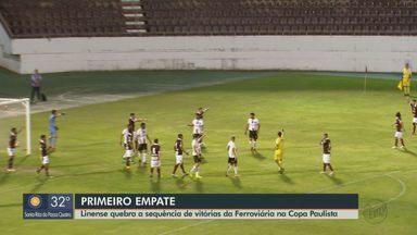 Ferroviária empata com Linense e quebra sequência de vitórias na Copa Paulista - Próxima partida da Locomotiva é no sábado (17) em Ribeirão Preto contra o Comercial.