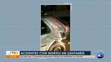 Somente este ano, 13 pessoas morreram em decorrência de acidentes de trânsito, em Santarém - Na noite de domingo (11), um acidente entre dois veículos deixou uma pessoa ferida e destruiu o muro de uma casa no bairro Interventoria.