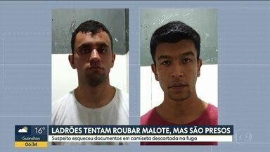 Dois presos em tentativa de assalto a Shopping em Mogi das Cruzes - Ladrões tentaram roubar malote, mas suspeito esqueceu documentos em camiseta descartada na fuga