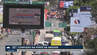 Confusão fecha ponte da Amizade - Acordo bilateral da Itaipu causou crise política no país e lojas foram fechadas.