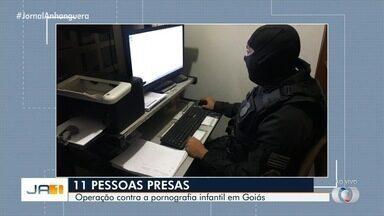 Polícia prende dez suspeitos de guardar e compartilhar imagens de pedofilia, em Goiás - Policiais cumpriram mandados em oito cidades do estado. Celulares, computadores e pendrives foram apreendidos e serão periciados.