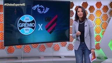 Grêmio e Athletico-PR se enfrentam nesta quarta-feira na Arena - Restam ingressos apenas nas cadeiras gold e camarote. RBS TV transmite partida ao vivo, a partir das 21h30.