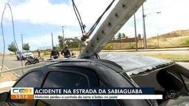 Motorista bate em poste na estrada da Sabiaguaba - Saiba mais em g1.com.br/ce