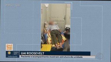 VC no MG1: paciente e acompanhante denunciam UAI Roosevelt em Uberlândia - Vídeo enviado ao MG1 mostra condições de atendimento e espera na unidade.