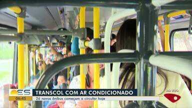 26 novos ônibus com ar-condicionado do Sistema Transcol começam a circular hoje - Novos coletivos sem cobrador vão rodar de 6 às 21h nas principais vias da Grande Vitória e nas linhas troncais.