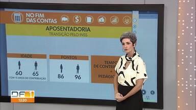 No Fim das Contas, são 5 opções de transição para a aposentadoria pelo INSS - A repórter de economia, Mônica Carvalho, explica essas opções de acordo com a idade e o tempo de contribuição.