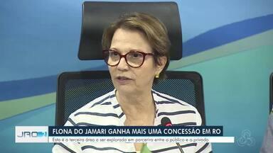 Ministra da Agricultura visita Rondônia - Tereza Cristina, assinou em Rondônia a concessão da quarta Unidade de Manejo Florestal (UMF) da Floresta Nacional (Flona) do Jamari.