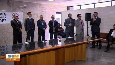 Representantes do Judiciário e de órgãos públicos fazem ato em Aracaju - Representantes do Judiciário e de órgãos públicos fazem ato contra lei que criminaliza o abuso de autoridade.