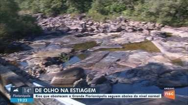Com estiagem, rios que abastecem a Grande Florianópolis ficam abaixo do nível normal - Com estiagem, rios que abastecem região da Grande Florianópolis seguem abaixo do nível