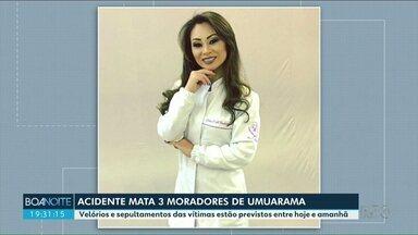 Enterrada em Umuarama vítima de acidente na região de Ponta Grossa - Outras duas vítimas foram veladas em outras cidades.