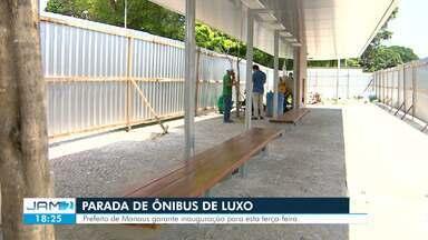 Com 17 dias de atraso, parada de ônibus que custou R$ 207 mil é inaugurada em Manaus - Com 17 dias de atraso, parada de ônibus que custou R$ 207 mil é inaugurada em Manaus