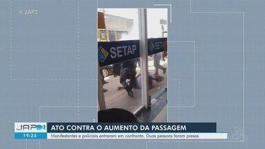 Confusão entre PM e estudantes tumultua ato contra aumento da tarifa de ônibus em Macapá - Conflito teria iniciado após manifestantes serem impedidos de entrar na sede do Setap na tarde desta terça-feira (20). Duas pessoas foram presas por agressão.