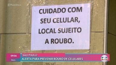 Comerciantes fazem alertas para prevenir roubos de celulares - Em média, 63 celulares são roubados por hora nas capitais brasileiras