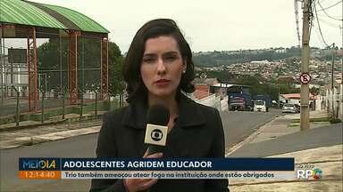 Adolescentes são apreendidos após agressão a educador em Ponta Grossa - Caso aconteceu na Central Provisória de Acolhimento da cidade, na noite de quinta-feira (22).
