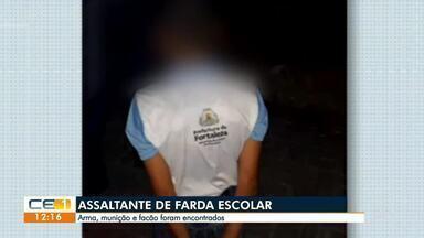 Assaltante é preso usando farda escolar - Saiba mais em g1.com.br/ce