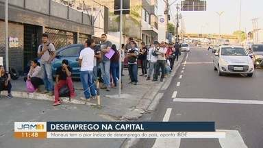 Manaus está entre as cidades com mais desempregados - Dados são do IBGE.