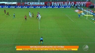 Vitória deve ter retorno de jogadores na partida contra o Operário-PR, pela série B - Wesley, Nickson, Chiquinho podem voltar aos gramados neste sábado (24), pelo Campeonato Brasileiro.