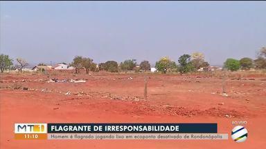 Homem é flagrado jogando lixo em ecoponto desativado de Rondonópolis - Homem é flagrado jogando lixo em ecoponto desativado de Rondonópolis