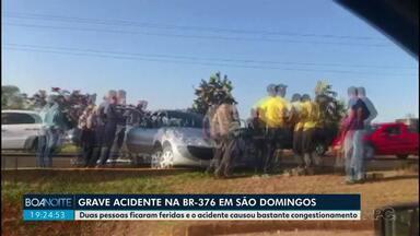Duas pessoas ficam feridas em acidente na BR 376, em São Domingos - Parte da rodovia ficou interditada