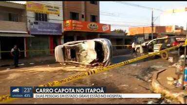 Carro capota no Condomínio Del Lago no Itapoã - Duas pessoas foram levadas ao hospital em estado grave