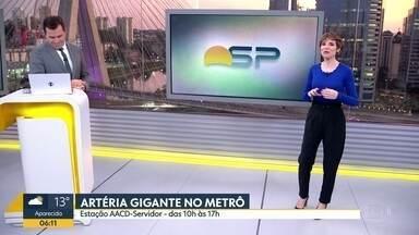Artéria gigante no metrô - Instalação fica hoje e amanhã na estação AACD-Servidor para que a população entenda um pouco mais sobre como funciona o colesterol