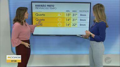 Confira a previsão do tempo para as regiões de Ribeirão Preto e Central do Estado - Sem previsão de chuva.