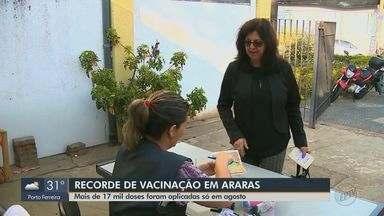Araras tem recorde de vacinação com mais de 17 mil doses aplicadas em agosto - Movimentou aumentou após a confirmação do primeiro caso de sarampo na cidade.