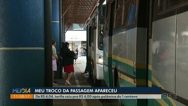 Com problema de troco, tarifa de ônibus em Paranavaí cai para R$ 4 - No dia 20 de agosto, preço da passagem do transporte público paga em dinheiro tinha sido fixada em R$ 4,04, mas passageiros reclamavam da dificuldade com o troco.